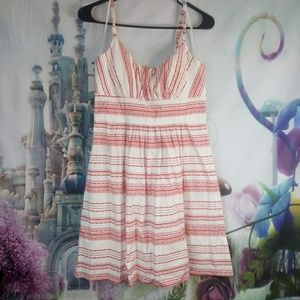 B. Smart red and white striped dress